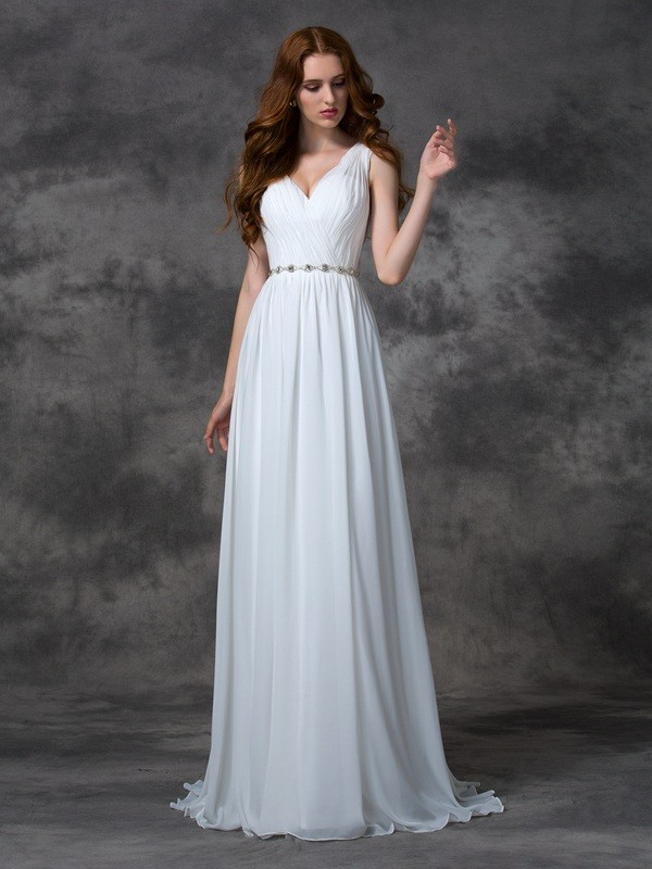 Bright A-Line V-neck Cut Chiffon Long Dresses With Beading