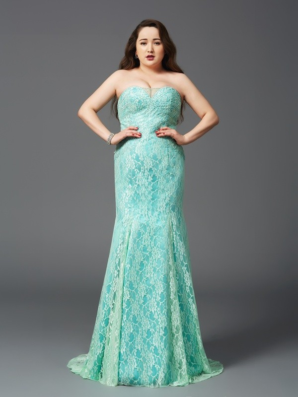 Modern Sheath Strapless Cut Satin Long Plus Size Dresses With Lace