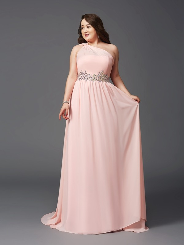 Soft A-Line One-Shoulder Cut Chiffon Long Plus Size Dresses With Rhinestone