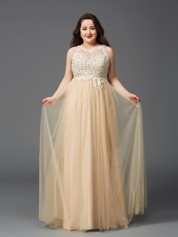 Chic A-Line Scoop Cut Net Long Plus Size Dresses With Rhinestone