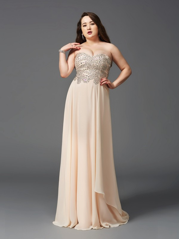 Stylish A-Line Sweetheart Cut Chiffon Long Plus Size Dresses With Rhinestone
