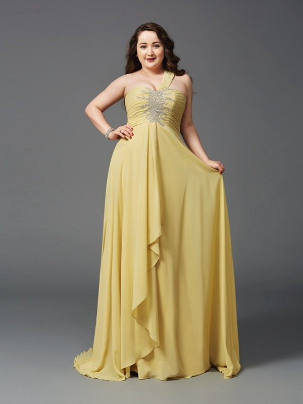 Glamorous A-Line One-Shoulder Cut Chiffon Long Plus Size Dresses With Rhinestone