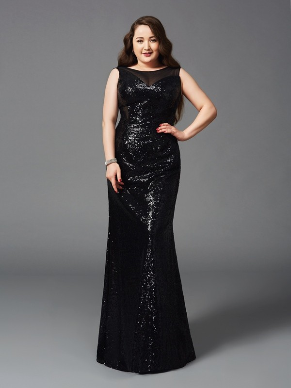 Pretty Sheath Scoop Cut Sequins Long Plus Size Dresses With Ruffles