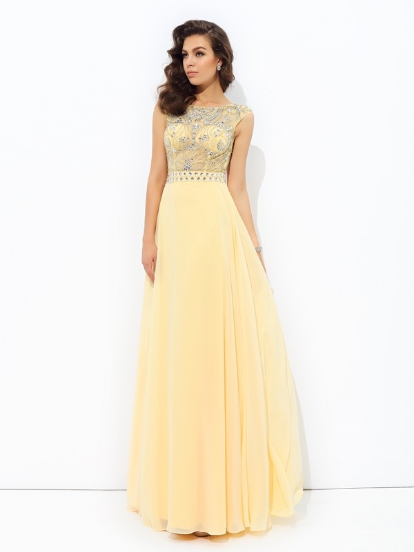 Gorgeous A-Line Bateau Cut Chiffon Long Dresses With Beading