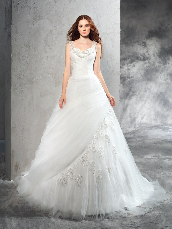 Elegant Ball Gown Straps Cut Net Long Wedding Dresses With Applique