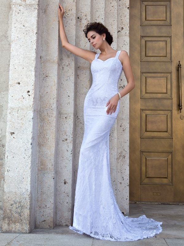 Stunning Sheath Straps Cut Lace Long Wedding Dresses With Lace