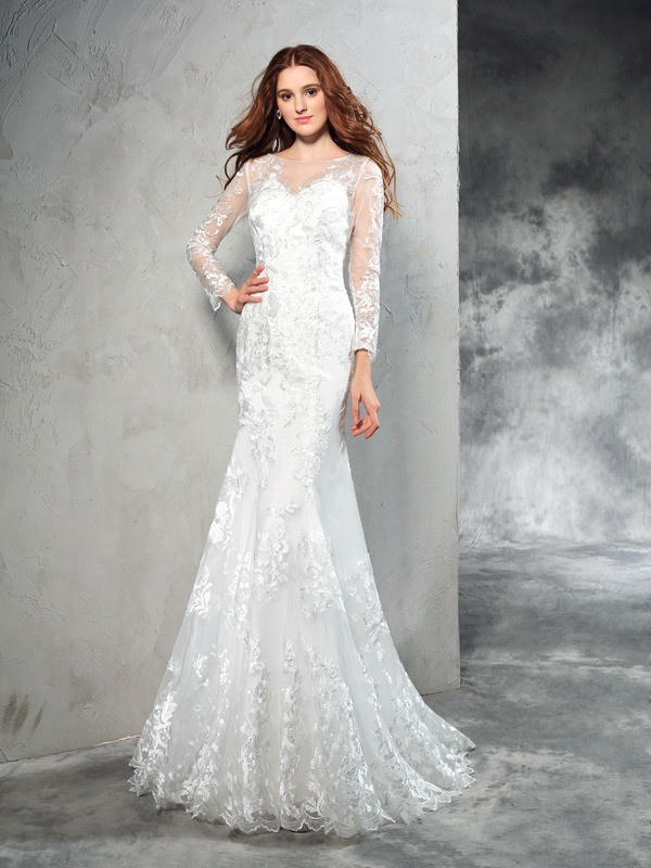 Fashional Sheath Sheer Neck Cut Net Long Wedding Dresses With Lace