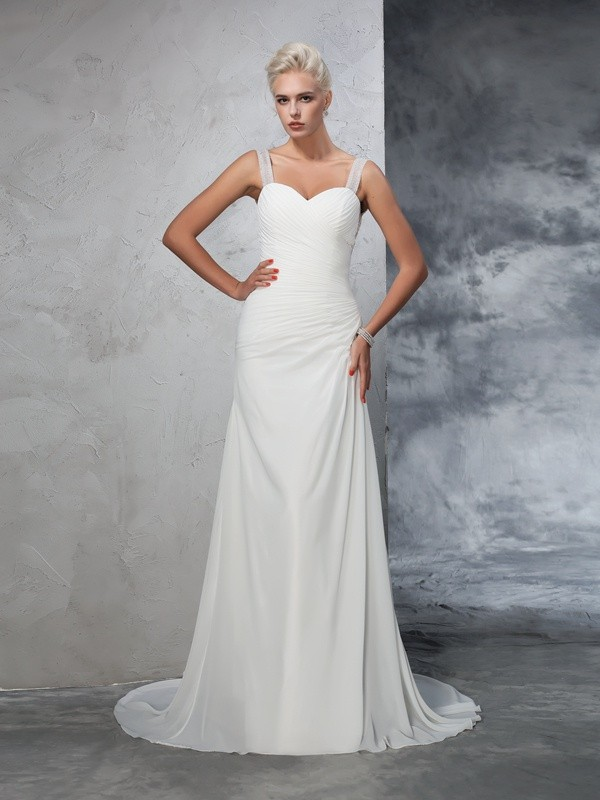 Lovely Mermaid Straps Cut Chiffon Long Wedding Dresses With Ruched