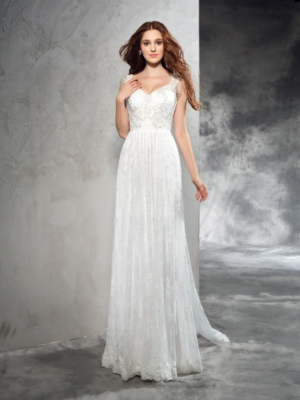 Shining A-Line Straps Cut Lace Long Wedding Dresses With Lace