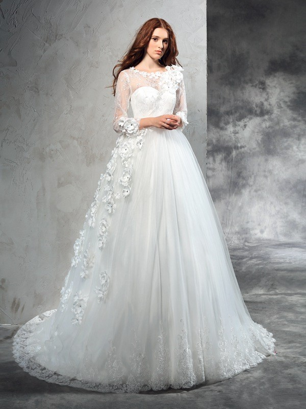 Attractive Ball Gown Sheer Neck Cut Net Long Wedding Dresses With Hand-Made Flower