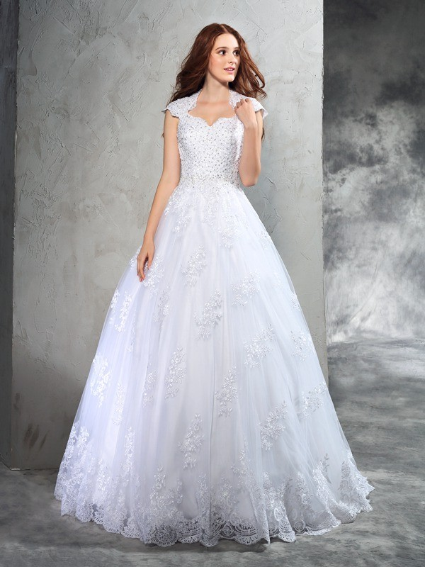 Delicate Ball Gown Sweetheart Cut Organza Long Wedding Dresses With Lace