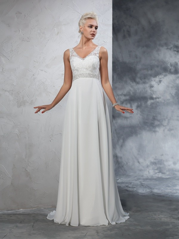 Bright A-Line V-neck Cut Chiffon Long Wedding Dresses With Beading