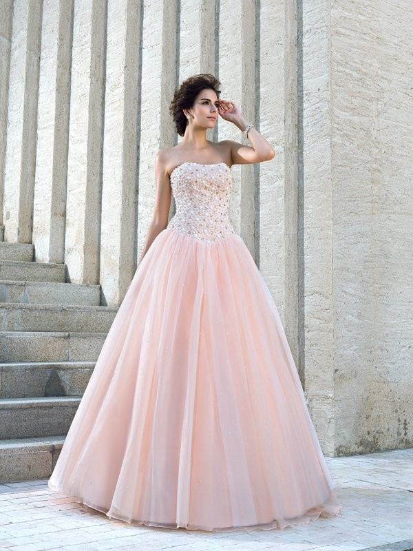 Modern Ball Gown Strapless Cut Satin Long Wedding Dresses With Beading