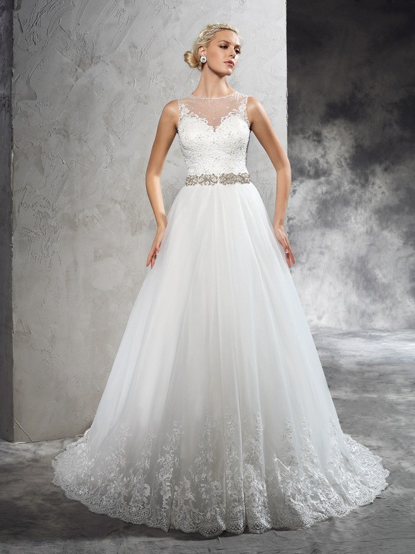 Sweet A-Line Sheer Neck Cut Net Long Wedding Dresses With Beading