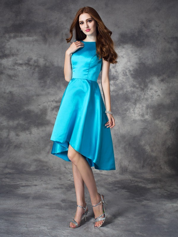Delicate A-Line Bateau Cut Satin High Low Bridesmaid Dresses With Ruffles