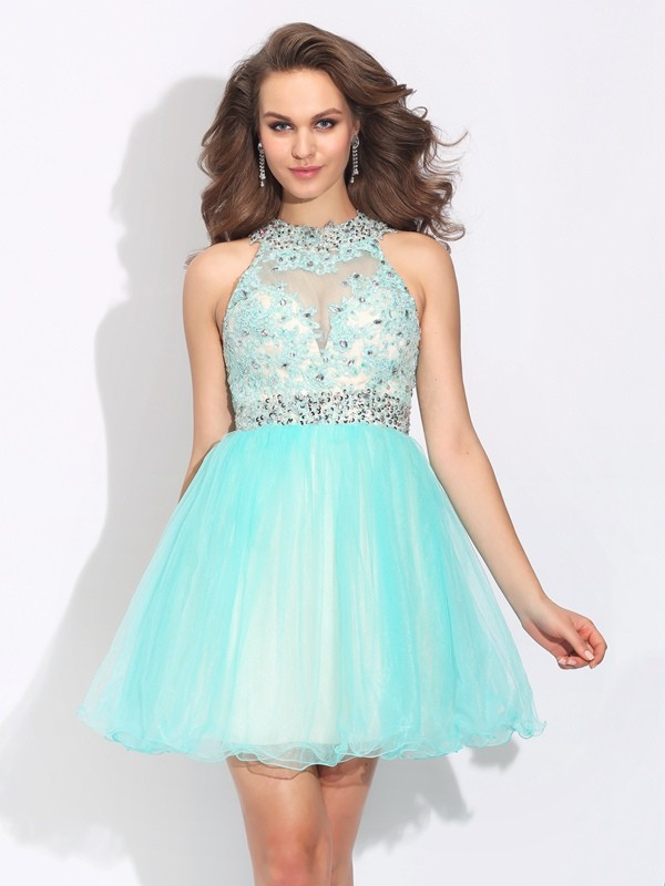 Glamorous A-Line High Neck Cut Net Short Dresses With Lace