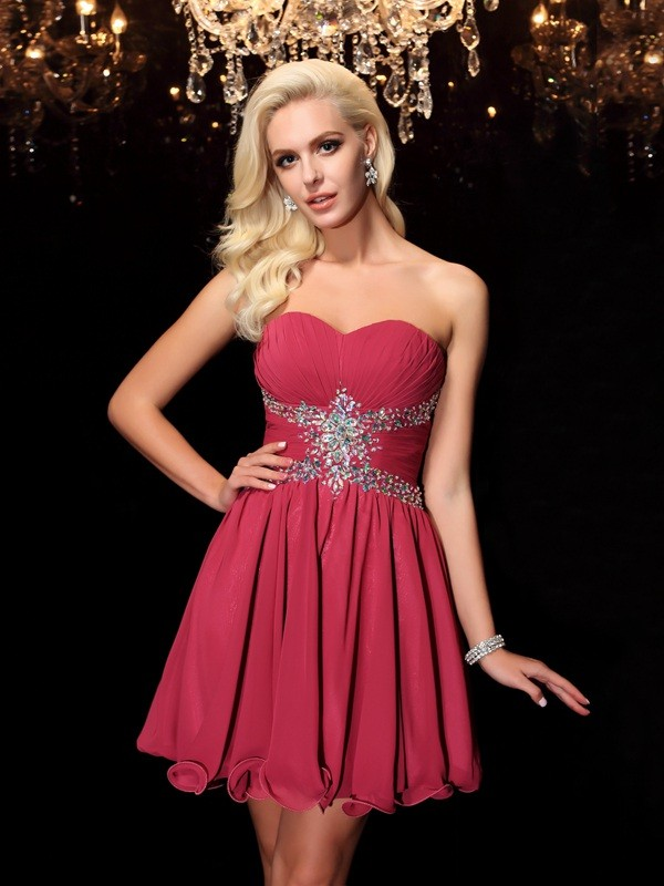 Popular A-Line Sweetheart Cut Chiffon Short Dresses With Rhinestone