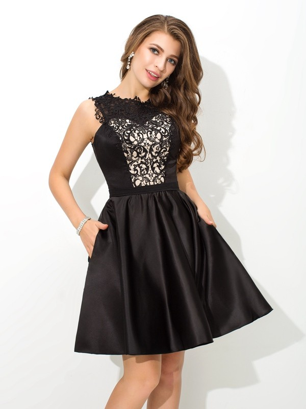 Elegant A-Line Scoop Cut Satin Short Dresses With Lace