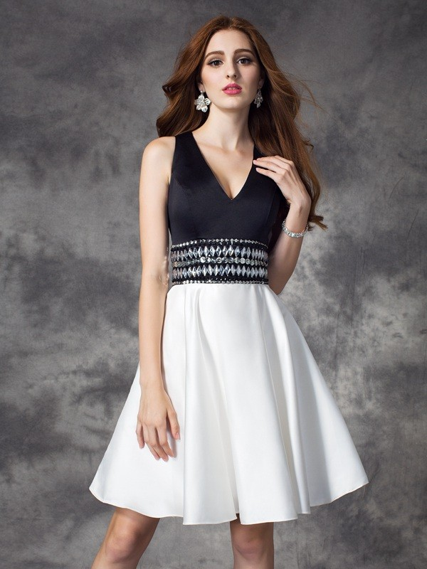 Awesome A-Line V-neck Cut Satin Short Dresses With Rhinestone