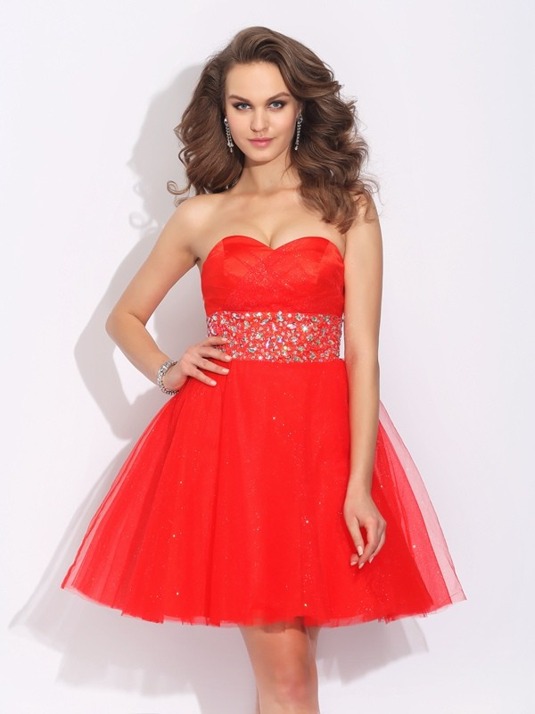 Romantic A-Line Sweetheart Cut Net Short Dresses With Rhinestone