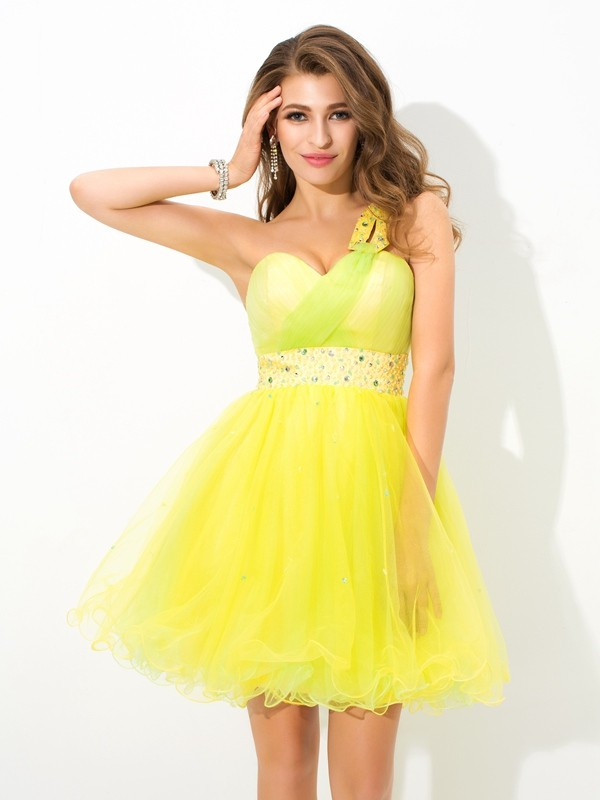 Delicate A-Line One-Shoulder Cut Net Short Dresses With Beading