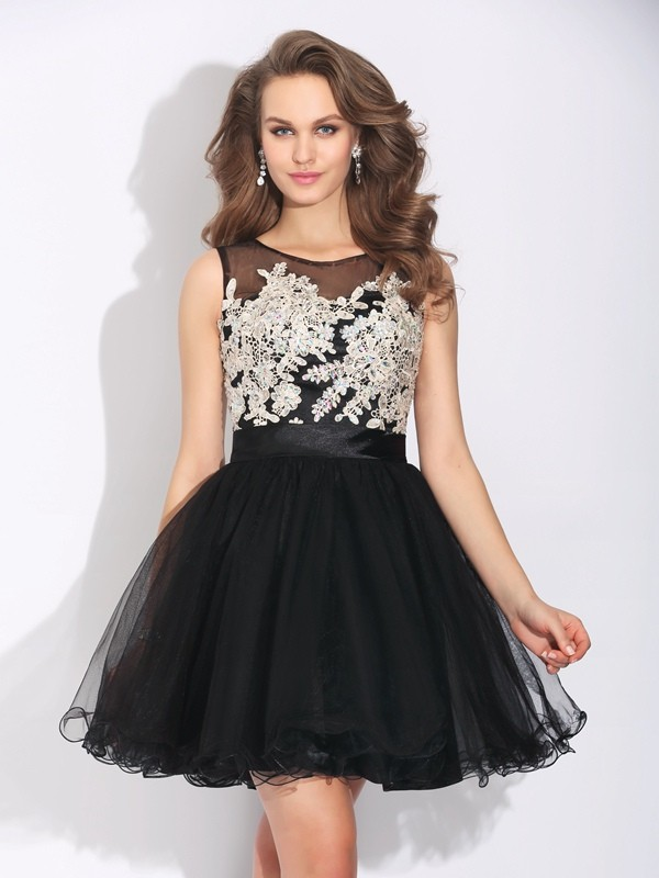 Modern A-Line Scoop Cut Net Short Dresses With Ruffles