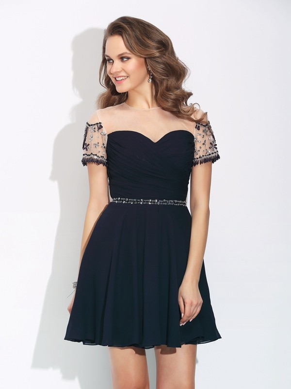 Radiant A-Line Jewel Cut Chiffon Short Dresses With Beading