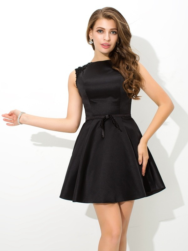 Stylish A-Line High Neck Cut Satin Short Dresses With Sash/Ribbon/Belt