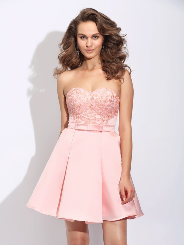 Glamorous A-Line Sweetheart Cut Satin Short Dresses With Ruffles