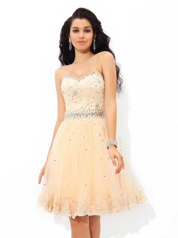 Charming A-Line Sweetheart Cut Satin Short Dresses With Beading