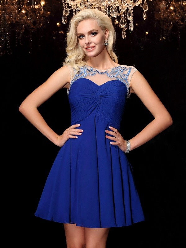 Awesome A-Line Scoop Cut Chiffon Short Dresses With Beading