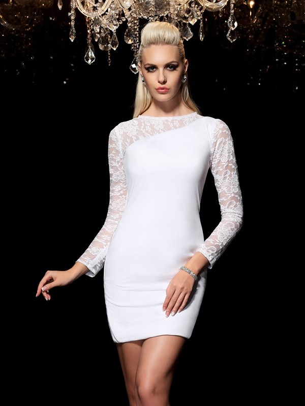 Amazing Sheath Scoop Cut Elastic Woven Satin Short Dresses With Lace