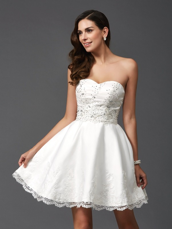 Attractive A-Line Sweetheart Cut Satin Short Dresses With Beading