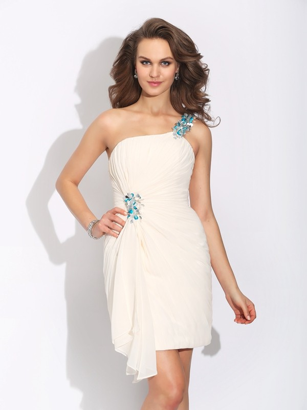 Delicate Sheath One-Shoulder Cut Chiffon Short Dresses With Beading