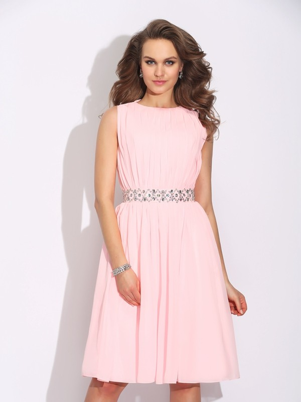 Dreamlike A-Line Jewel Cut Chiffon Short Dresses With Ruffles