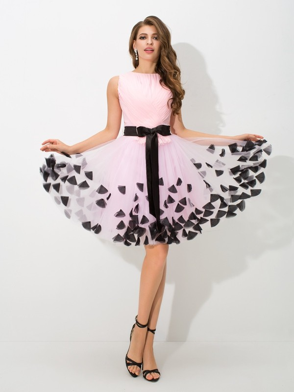 Modern A-Line High Neck Cut Net Short Dresses With Bowknot
