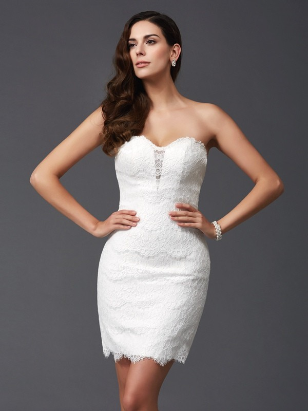 Chic Sheath Sweetheart Cut Lace Short Dresses With Lace