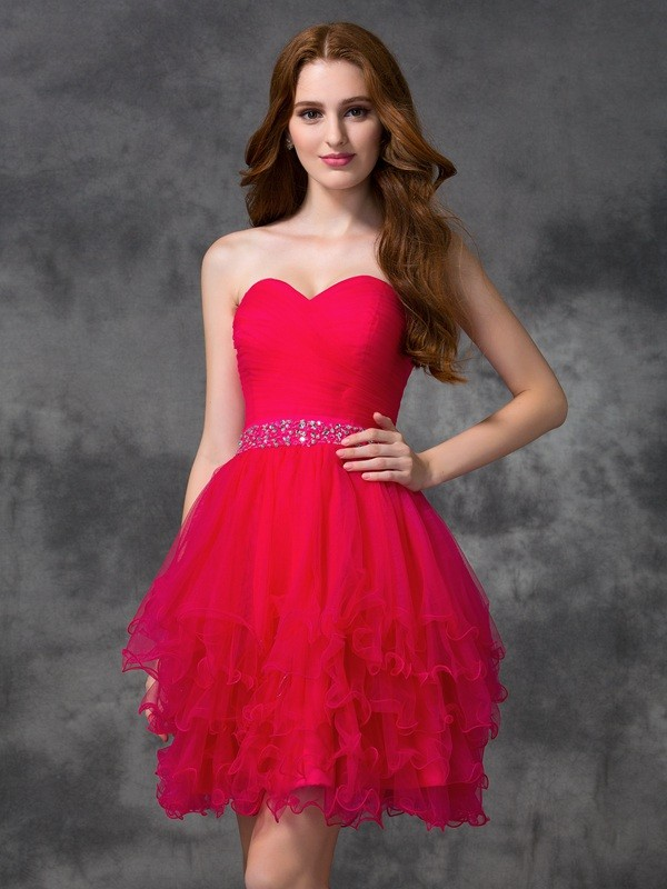 Stylish A-Line Sweetheart Cut Satin Short Dresses With Beading