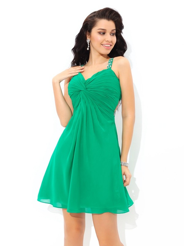 Hot A-Line Straps Cut Chiffon Short Dresses With Pleats
