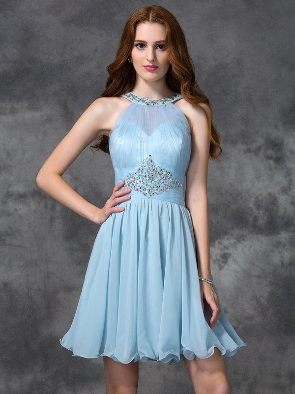 Glamorous A-Line Scoop Cut Chiffon Short Dresses With Beading