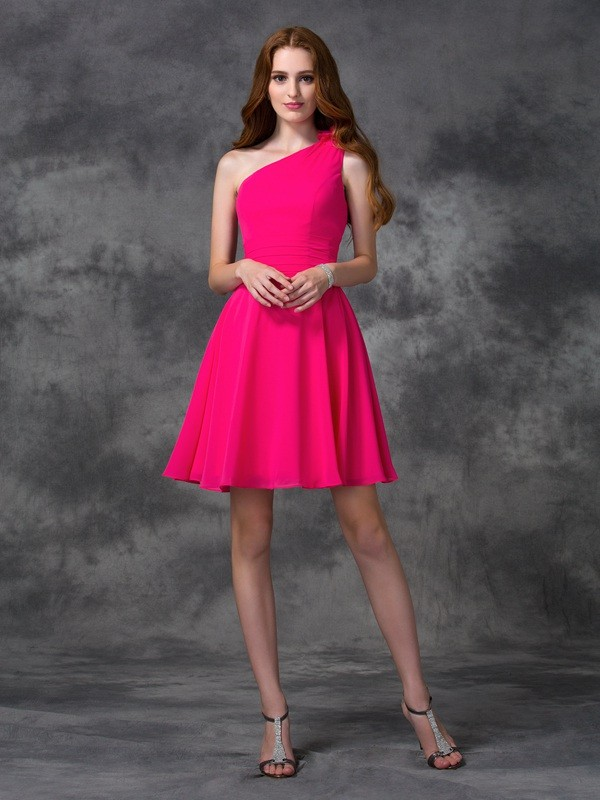 Trendy A-Line One-Shoulder Cut Chiffon Short Dresses With Hand-Made Flower