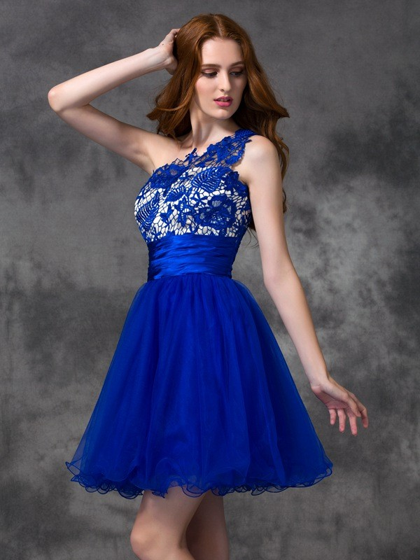 Nice A-Line One-Shoulder Cut Satin Short Dresses With Lace