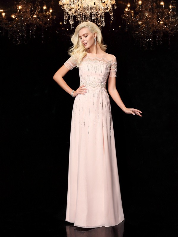 Amazing A-Line Bateau Cut Chiffon Long Dresses With Beading