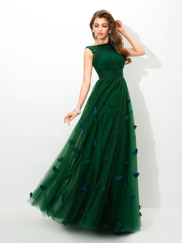 Fashional A-Line Sheer Neck Cut Net Long Dresses With Beading