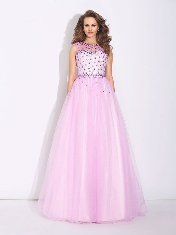 Lovely A-Line Jewel Cut Net Long Dresses With Rhinestone