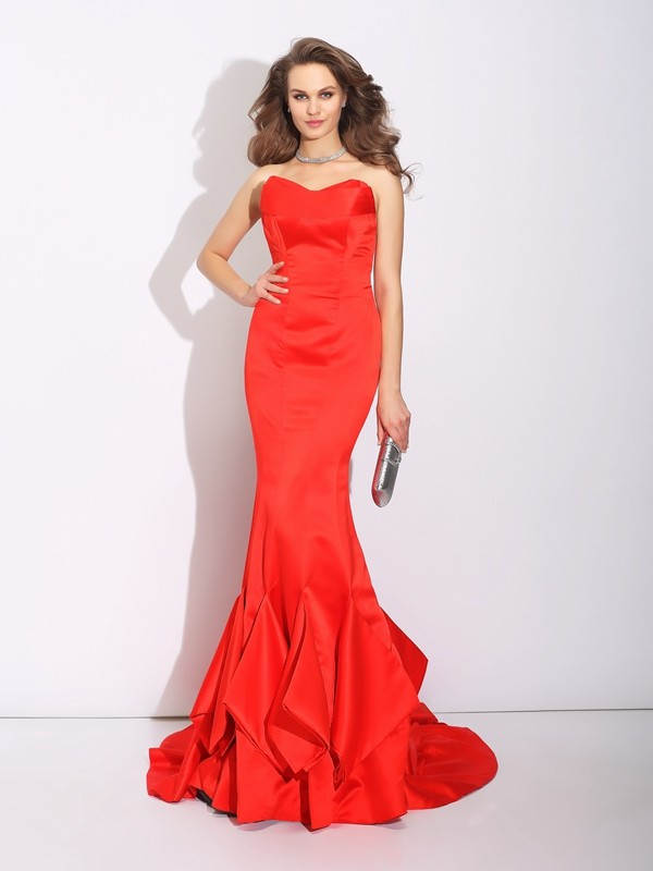 Attractive Mermaid Sweetheart Cut Satin Long Dresses With Layers