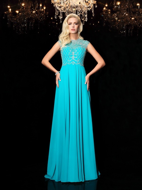 Special A-Line Jewel Cut Chiffon Long Dresses With Lace