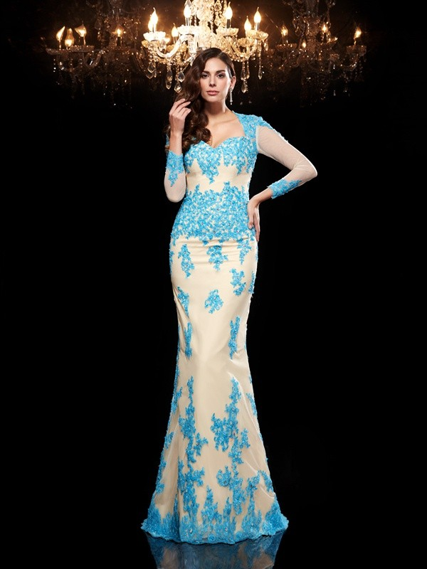 Bright Mermaid Sweetheart Cut Net Long Dresses With Applique