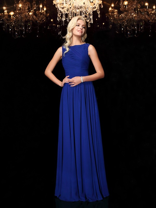 Gorgeous A-Line Bateau Cut Chiffon Long Dresses With Rhinestone