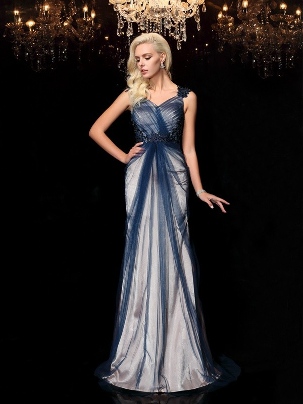 Nice Sheath Straps Cut Elastic Woven Satin Long Dresses With Applique